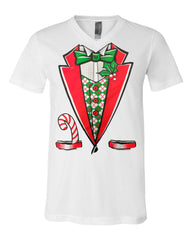 Christmas Tuxedo V-Neck T-Shirt Funny Xmas Santa Elf Tee - Tee Hunt - 3
