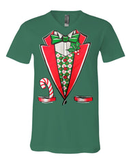 Christmas Tuxedo V-Neck T-Shirt Funny Xmas Santa Elf Tee - Tee Hunt - 7