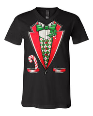 Christmas Tuxedo V-Neck T-Shirt Funny Xmas Santa Elf Tee - Tee Hunt - 2
