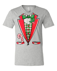 Christmas Tuxedo V-Neck T-Shirt Funny Xmas Santa Elf Tee - Tee Hunt - 4