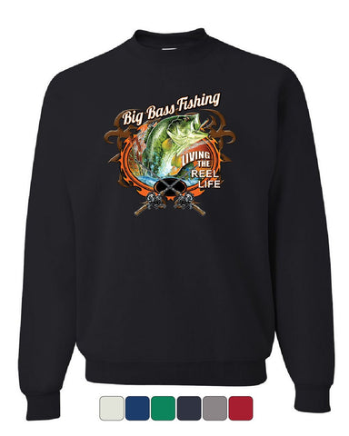 Big Bass Fishing Sweatshirt Living the Reel Life Fisherman Spinning Sweater