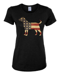 American Dog Women's T-Shirt Stars and Stripes Retriever Bulldog Pitbull Tee