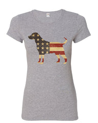 American Dog Women's T-Shirt Stars and Stripes Retriever Bulldog Pitbull Shirt