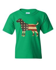 American Dog Youth T-Shirt Stars and Stripes Retriever Bulldog Pitbull Kids Tee
