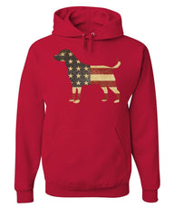 American Dog Hoodie Stars and Stripes Retriever Bulldog Pitbull Sweatshirt