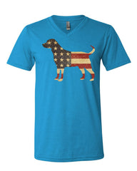 American Dog V-Neck T-Shirt Stars and Stripes Retriever Bulldog Pitbull Tee