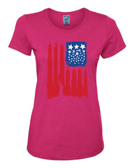 American Flag Women's T-Shirt Statue of Liberty Skyscrapers NY Skyline Tee