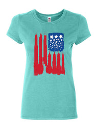 American Flag Women's T-Shirt Statue of Liberty Skyscrapers NY Skyline Shirt
