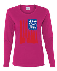 American Flag Women's Long Sleeve Tee Statue of Liberty Skyscrapers NY Skyline