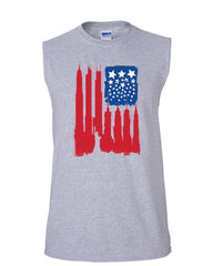 American Flag Muscle Shirt Statue of Liberty Skyscrapers NY Skyline Sleeveless