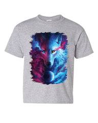Wild Wolf Youth T-Shirt Wildlife Nature Magic Night Sky Space Twilight Kids Tee