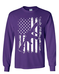 American Flag AR-15 Long Sleeve T-Shirt 2nd Amendment Gun Rights 2A Patriot Tee