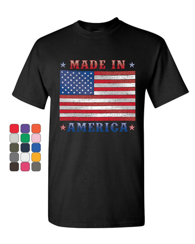 Made in America T-Shirt 4th of July Stars and Stripes Patriot Mens Tee Shirt