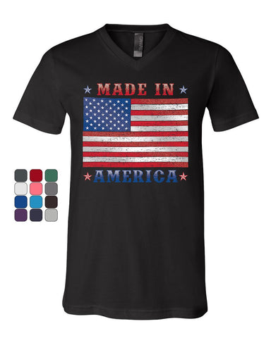Made in America V-Neck T-Shirt 4th of July Stars and Stripes Patriot Tee