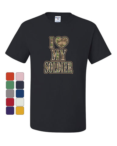 I Heart My Soldier T-Shirt Cute Camo Army Wife Army Mom Military Tee Shirt