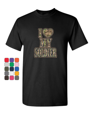 I Heart My Soldier T-Shirt Cute Camo Army Wife Army Mom Military Mens Tee Shirt