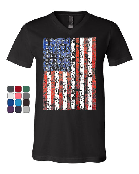 Distressed US Flag V-Neck T-Shirt American Flag Tee - Tee Hunt - 1