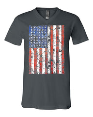 Distressed US Flag V-Neck T-Shirt American Flag Tee - Tee Hunt - 5