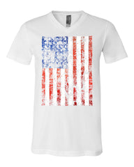 Distressed US Flag V-Neck T-Shirt American Flag Tee - Tee Hunt - 3