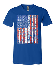 Distressed US Flag V-Neck T-Shirt American Flag Tee - Tee Hunt - 12
