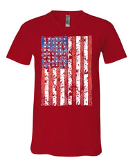 Distressed US Flag V-Neck T-Shirt American Flag Tee - Tee Hunt - 10
