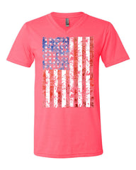 Distressed US Flag V-Neck T-Shirt American Flag Tee - Tee Hunt - 9