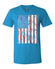 Distressed US Flag V-Neck T-Shirt American Flag Tee - Tee Hunt - 11