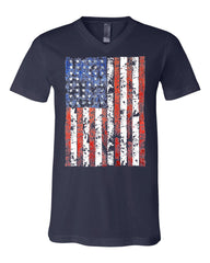 Distressed US Flag V-Neck T-Shirt American Flag Tee - Tee Hunt - 6