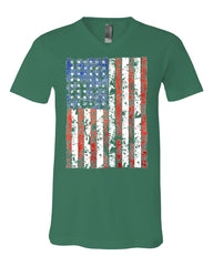 Distressed US Flag V-Neck T-Shirt American Flag Tee - Tee Hunt - 7