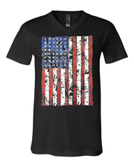 Distressed US Flag V-Neck T-Shirt American Flag Tee - Tee Hunt - 2
