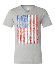 Distressed US Flag V-Neck T-Shirt American Flag Tee - Tee Hunt - 4