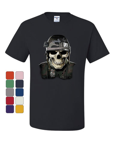 Badass Military Skull T-Shirt Army Special Forces Bullets Helmet Tee Shirt