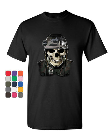 Badass Military Skull T-Shirt Army Special Forces Bullets Helmet Mens Tee Shirt