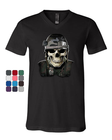Badass Military Skull V-Neck T-Shirt Army Special Forces Bullets Helmet Tee