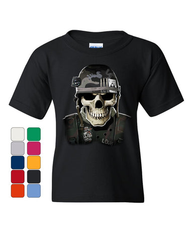 Badass Military Skull Youth T-Shirt Army Special Forces Bullets Helmet Kids Tee