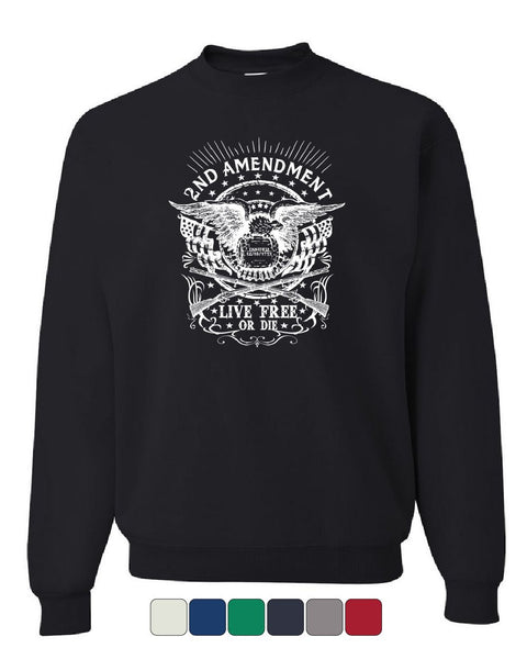 2nd Amendment Live Free or Die Sweatshirt 2A Gun Rights Freedom USA Sweater