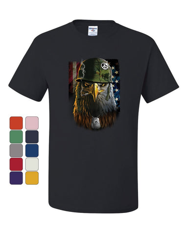Badass Staring Bald Eagle T-Shirt Helmet Military Dog Tags USA Tee Shirt