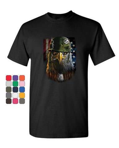 Badass Staring Bald Eagle T-Shirt Helmet Military Dog Tags USA Mens Tee Shirt