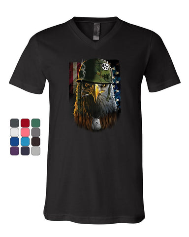 Badass Staring Bald Eagle V-Neck T-Shirt Helmet Military Dog Tags USA Tee