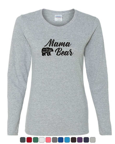 96e80dcc954 Mama Bear Women s Long Sleeve Tee Mom Mother s Day Family Cute Camping