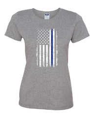 Thin Blue Line American Flag Women's T-Shirt Stars and Stripes Police Tee
