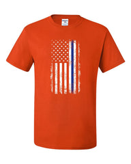 Thin Blue Line American Flag T-Shirt Stars and Stripes Police Tee Shirt
