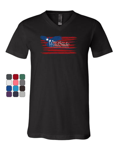 Stars and Stripes Bald Eagle Flag V-Neck T-Shirt Patriotic 4th of July Tee