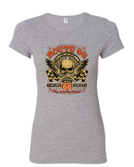 Route 66 America's Highway Women's T-Shirt Skull Cross Wrenches Classic Shirt