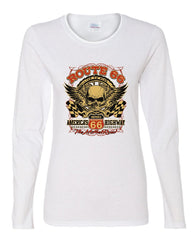 Route 66 America's Highway Women's Long Sleeve Tee Skull Cross Wrenches Classic