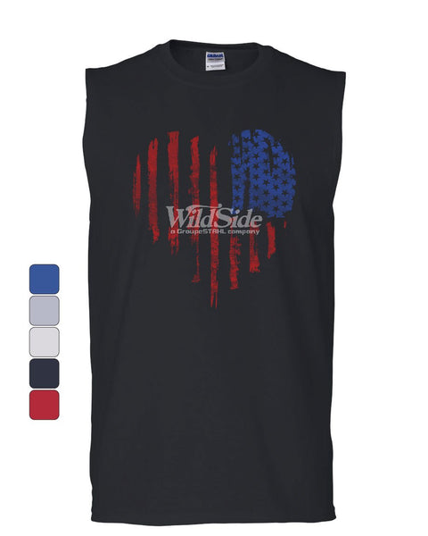 American Heart Flag Muscle Shirt 4th of July Stars and Stripes USA Sleeveless