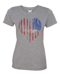 American Heart Flag Women's T-Shirt 4th of July Stars and Stripes USA Tee