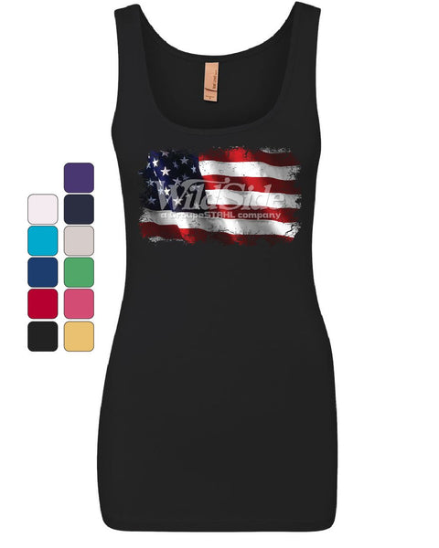 Distressed American Flag Women's Tank Top Land of the Free 4th of July Top