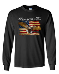 Land of the Free Bald Eagle Long Sleeve T-Shirt 4th of July Stars & Stripes Tee