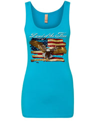 Land of the Free Bald Eagle Women's Tank Top 4th of July Stars & Stripes Top
